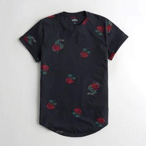 Hollister Must-Have Curved Hem Floral T-shirt S